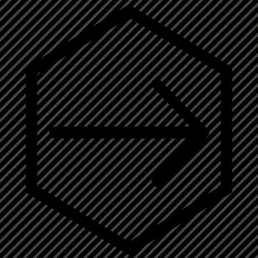 arrow, east, forward, hex, right icon