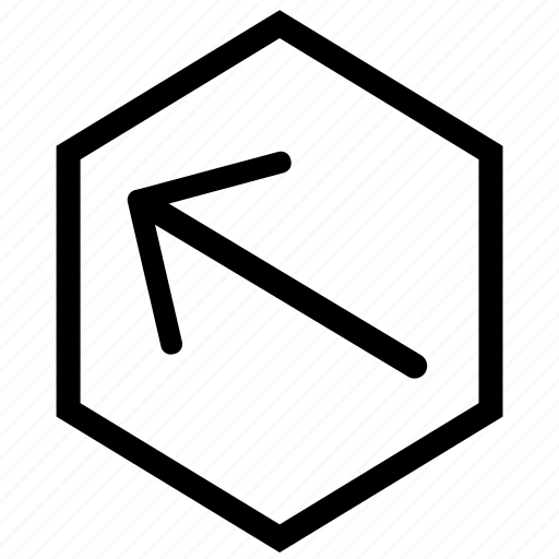 Arrow, hex, left, top icon - Download on Iconfinder