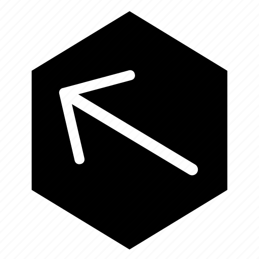 arrow, fill, hex, left, top icon