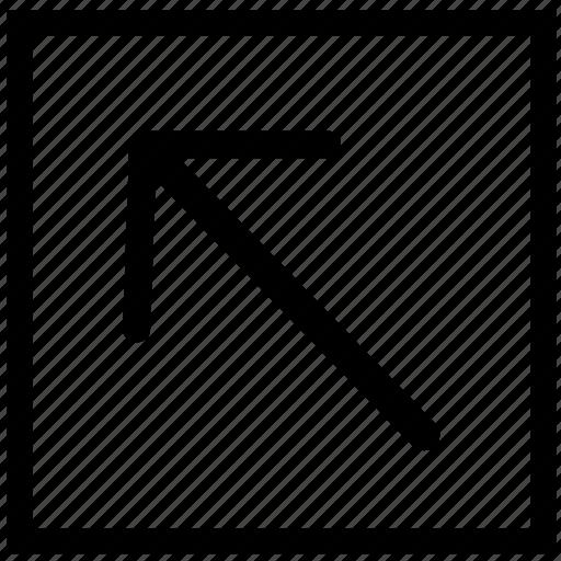 arrow, left, rectangle, top icon