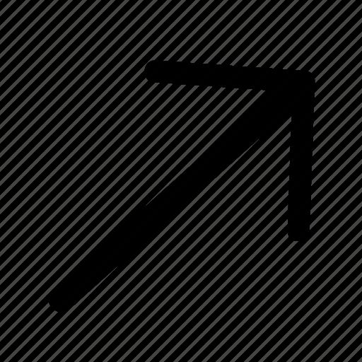 arrow, arrows, right, top icon
