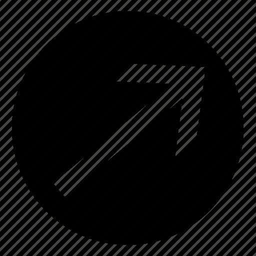 arrow, circle, fill, right, top icon