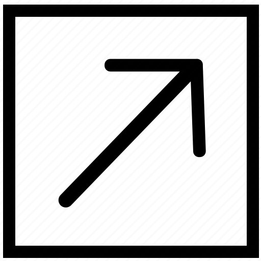 arrow, rectangle, right, top icon