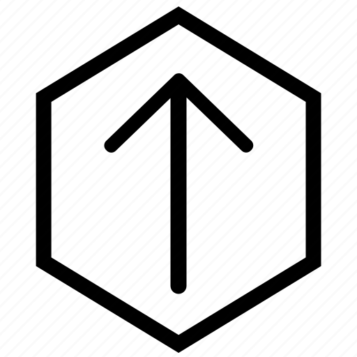 arrow, hex, up, upload icon