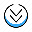 arrow, blue, circle, down, down arrow icon