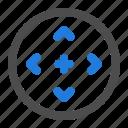 arrow, circle, direction, expand, navigation, resize, ui icon