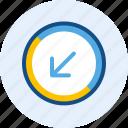 arrow, diagonal, direction, down, left, navigation