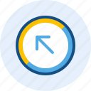 arrow, diagonal, direction, left, navigation, up icon