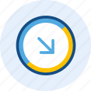 arrow, diagonal, direction, down, navigation, right icon