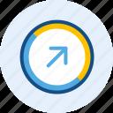 arrow, diagonal, direction, navigation, right, up