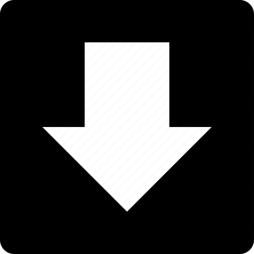 arrow, direction, down, navigation, square icon