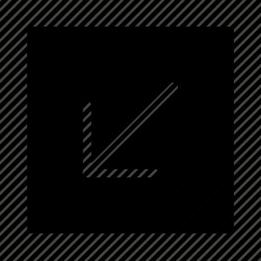 arrow, corner, leftdown, line, square, ui icon