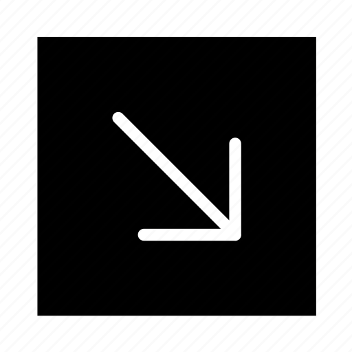 arrow, corner, line, rightdown, square, ui icon