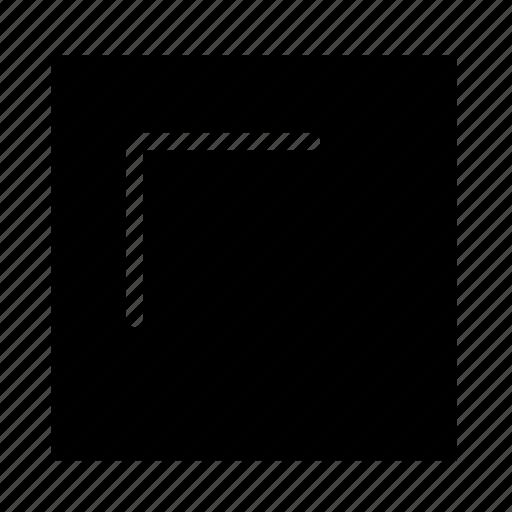 arrow, corner, solid, square, stroke, ui, upleft icon