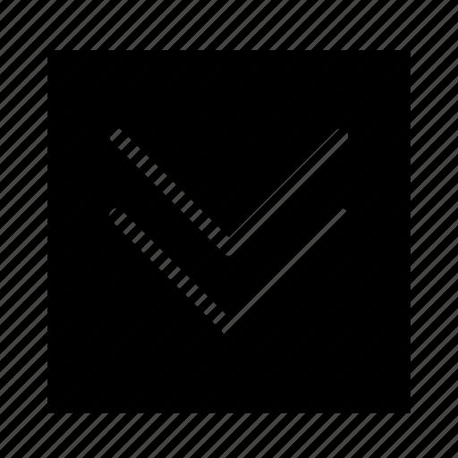 arrow, double, down, square, stroke, ui icon