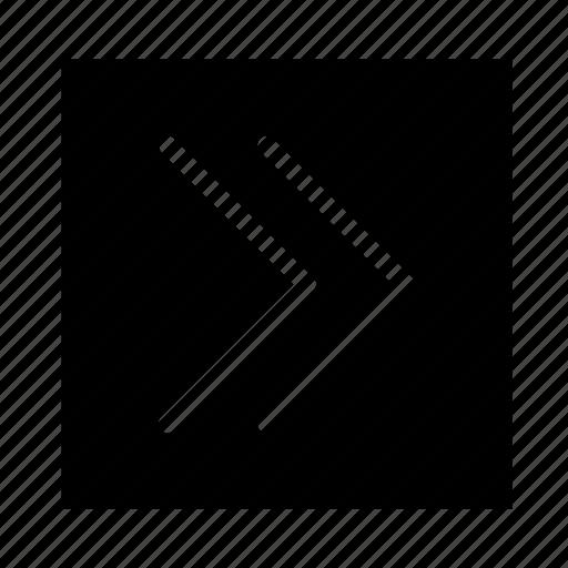 arrow, double, right, square, stroke, ui icon