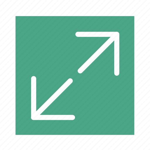 arrow, colored, enlarge, line, out, square, ui icon