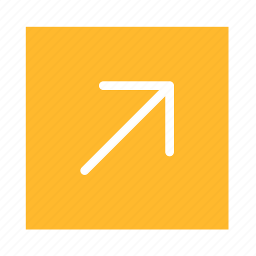 arrow, colored, corner, line, right, square, ui icon
