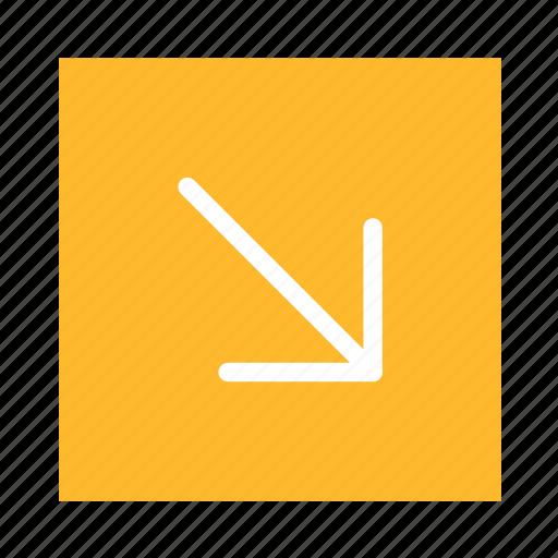 arrow, colored, corner, line, rightdown, square, ui icon