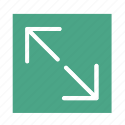 arrow, colored, line, out, square, ui, zoom icon