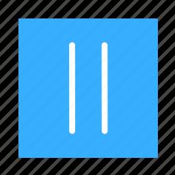 arrow, colored, pause, square, ui icon