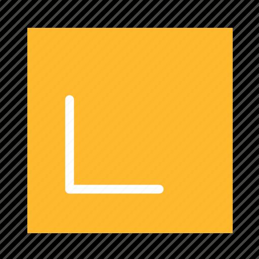 arrow, colored, corner, downleft, square, stroke, ui icon
