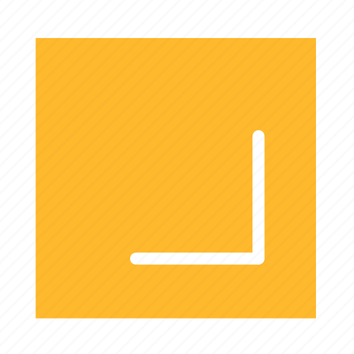 arrow, colored, corner, downright, square, stroke, ui icon