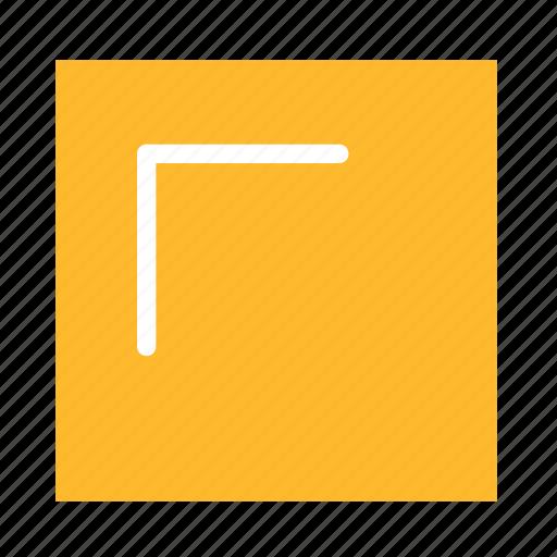 arrow, colored, corner, square, stroke, ui, upleft icon