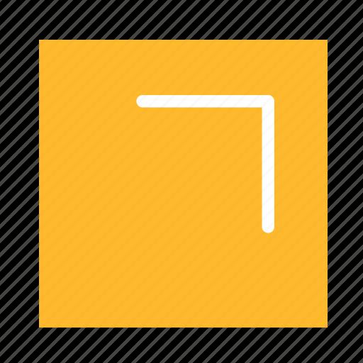 arrow, colored, corner, square, stroke, ui, upright icon