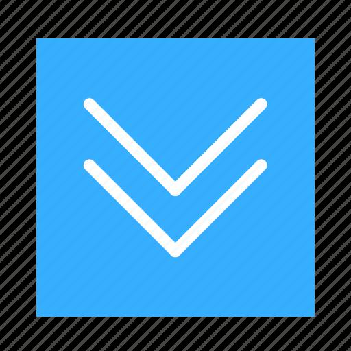 arrow, colored, double, down, square, stroke, ui icon