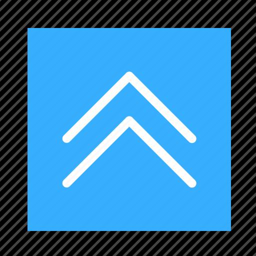 arrow, colored, double, square, stroke, ui, up icon