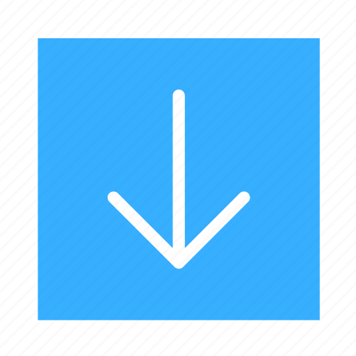 arrow, colored, down, line, square, stroke, ui icon