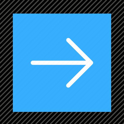 arrow, colored, line, right, square, stroke, ui icon