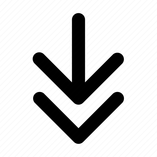 arrow, direction, double direction, down, line, navigation, turn icon