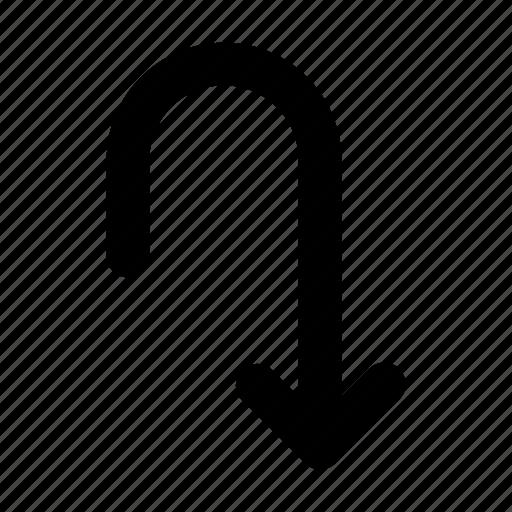 arrow, direction, down, line, navigation, turn icon