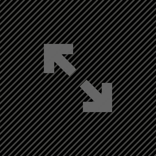 arrows, diagonal, left, size, stretch icon