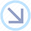 arrow, circle, down right, forward, material icon