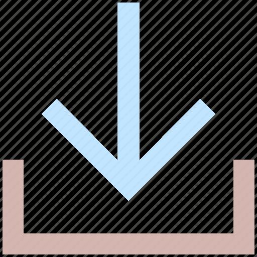 arrow, down, down arrow, downloading, downloading pointer icon