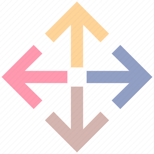arrows, direction, directions, enlarge, four, four arrows icon