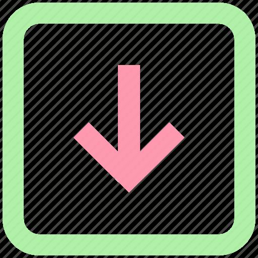 arrow, box, down arrow, forward, left icon
