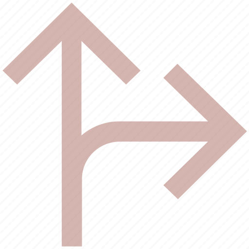 arrows, direction, right arrow, road direction, up arrow icon