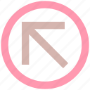 arrow, circle, forward, material, up left icon
