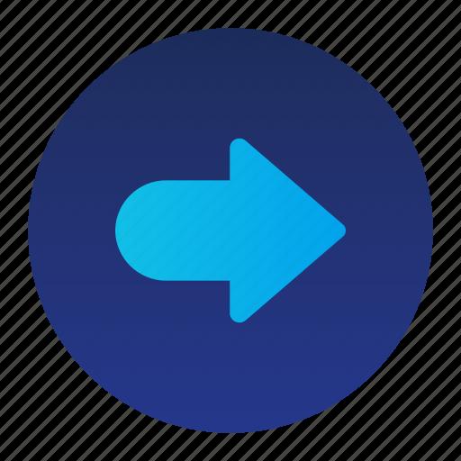 arrow, circle, move, pointer, right icon