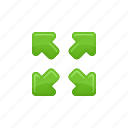 arrows, enlarge, zoom, zoom in, zoom out icon