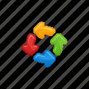 arrows, exchange, exchange arrows, four, roundabout icon
