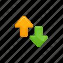 arrows, down, download, exchange, up, upload