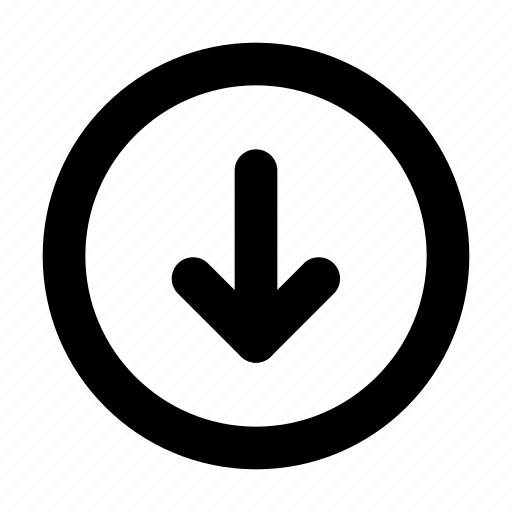 arrow, circle, down icon