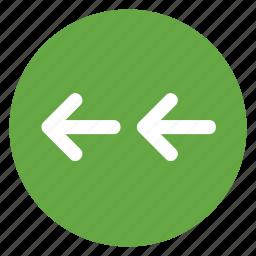 arrow, back, direction, double, left, movement icon