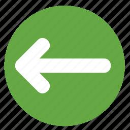 arrow, back, direction, left, movement icon