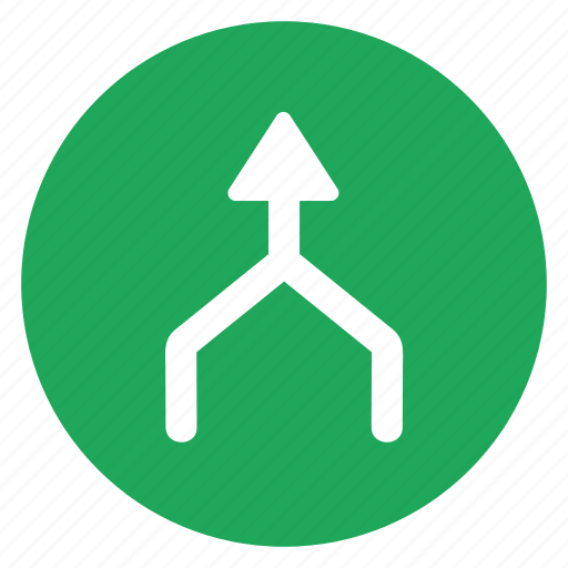 arrow, direction, meeting, merge, movement, road, sign icon